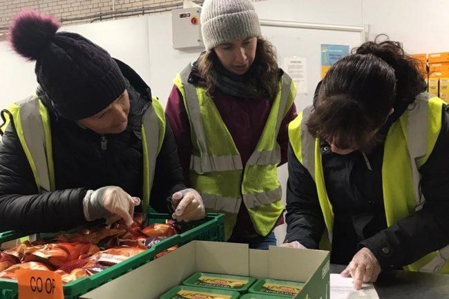 sorting food to distribute